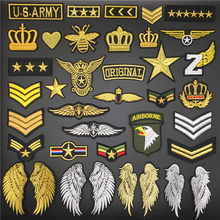 Crown us exército emblema ferro em remendos para vestuário militar adesivos em roupas apliques bordado asa listras para mochila