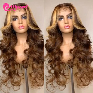 Brown Highlight Body Wave Lace Front Wigs Honey Blonde Brazilian Remy Ombre 13x4 Wigs Pre Plucked For Black Women Alipearl Hair