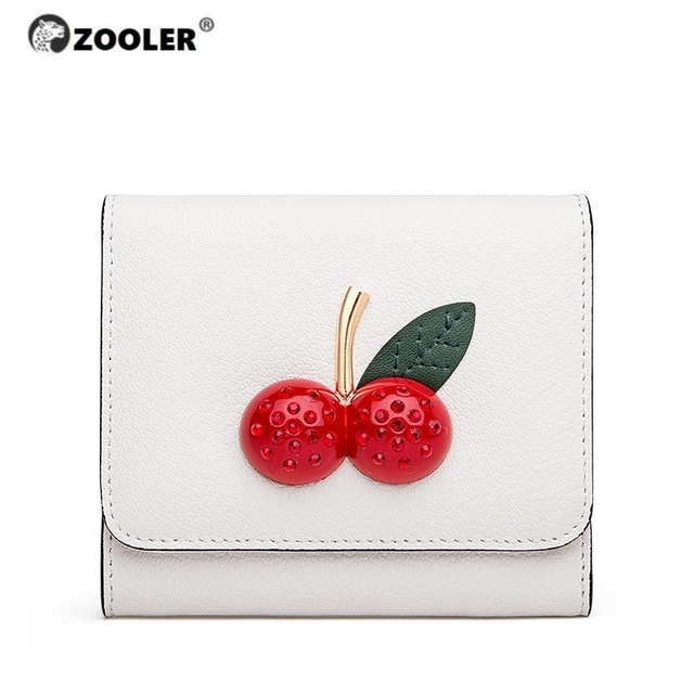 ZOOLER Women Leather Wallet Brand Soft Leather Short Wallet Fringe Coin Purse Credit Card Holder Lady Rice Cherry Purses TC205