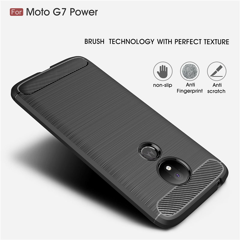 For Motorola Moto G7 Power case Brushed Carbon Fiber Texture Soft TPU Phone Case for Moto G7 Plus G7 Play Protective Back Cover