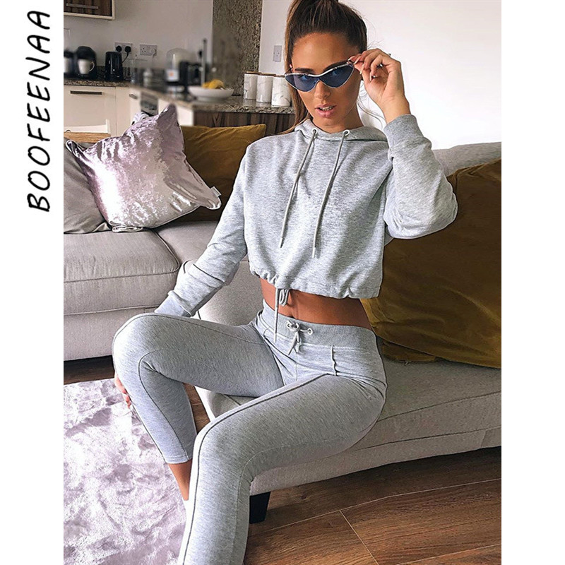 BOOFEENAA Autumn Winter 2 Piece Set Casual Tracksuit Women Pant Sets Active Workout Clothes For Womens Sweat Suit Hoody C83-BZ60