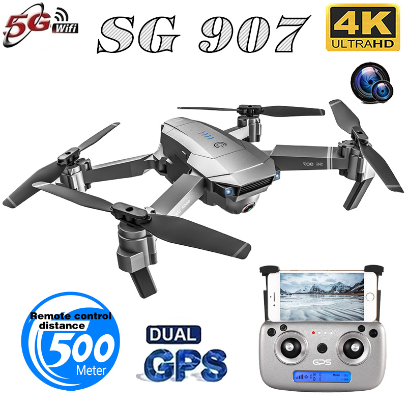 SG907 Quadcopter GPS Drone with 4K HD Dual Camera Wide Angle Anti-shake WIFI FPV RC Foldable Drones Professional GPS Follow Me(China)