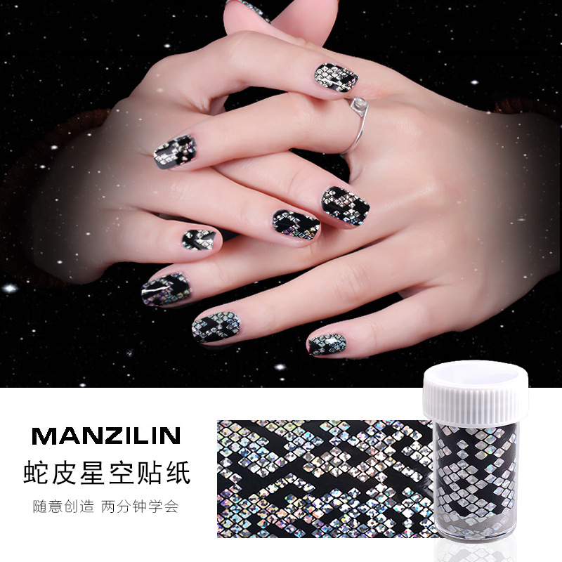 Nail Sticker Star Stickers Transfer Printing Plaid Snakeskin Print Nail Sticker Bottled 4cm *