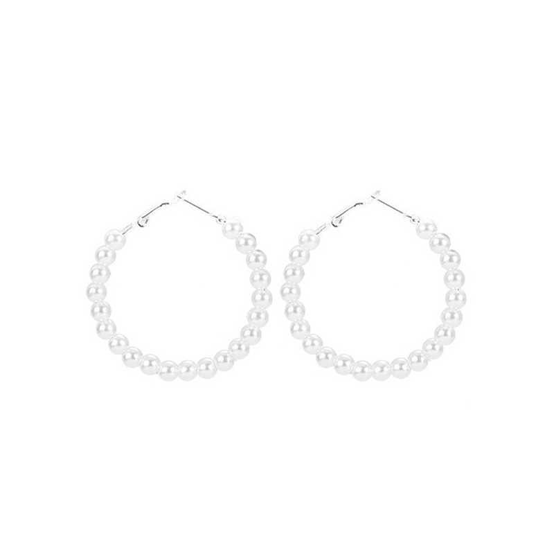 New Pearl Hoop Earrings for Women Exaggerates Oversize Pearl Circle Ear Rings Earrings Fashion Europe Nightclub Jewelry