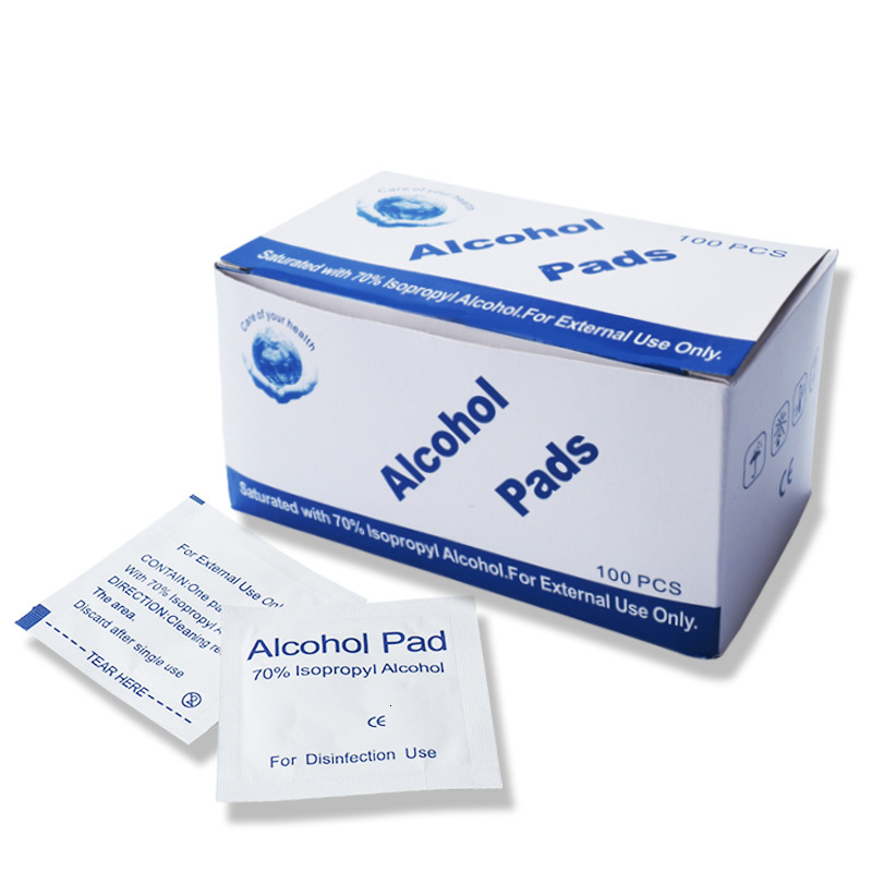 100pcs Independent Packing 70% Alcohol Germicidal Wet Wipes Disinfection Clean Cotton Swabs Non-woven Fabric Sterilized