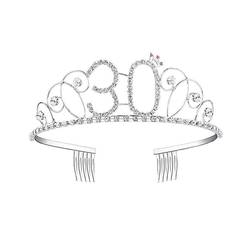 Corona de cumpleaños para mujer 16/18/20/30/40/50/90 años regalos de cumpleaños joyería para el cabello diadema de graduación para fiesta de cumpleaños accesorios para el cabello