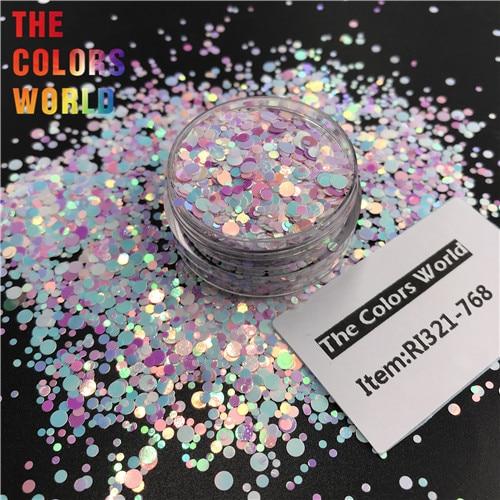 TCT-363 круглая точка микс Русалка жемчуг блеск для ногтей художественное украшение Смола Искусство на тумблеры и формы ремесло аксессуары фестиваль - Цвет: RI321-768   50g