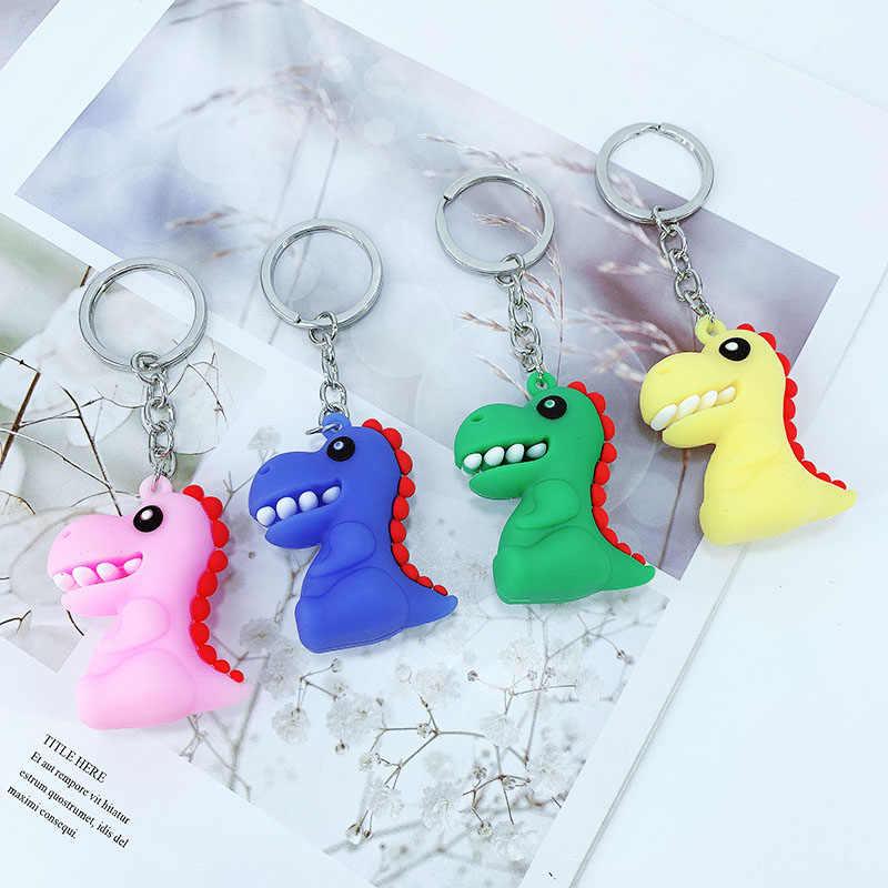 Novo dinossauro dos desenhos animados do PVC macio chaveiro pendurado ornamentos meninas saco chave do carro pingente fabricantes costume