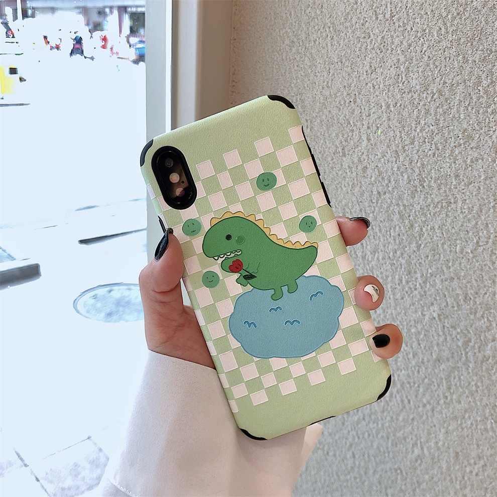 DTFQ Encantador do Dinossauro Verde Bonito Dos Desenhos Animados Padrão de Seda Capa Mole TPU Caso Em Relevo para o iphone 8 6 7 Plus s XR Xs Max X