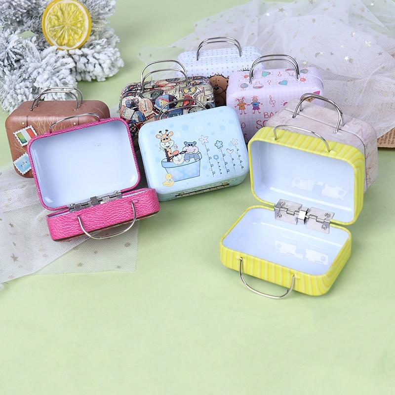 Fashion Metal Mini Suitcase For Dolls Miniature Toys Trunk Dollhouse Decoration Lovely Small Clutch Jewellery Box Doll Handbag