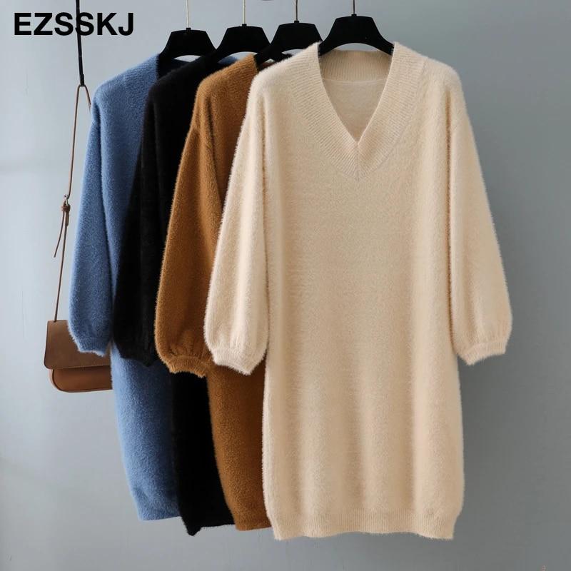 Осень-зима 2020, плотное платье-свитер с коротким рукавом-фонариком и V-образным вырезом, меховое платье, женское свободное мини-платье, женское шикарное прямое платье
