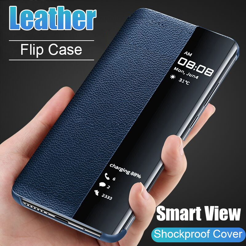 Luxury Original Smart Window Flip Cover for Samsung Galaxy S8 S9 S10 Plus S10E Note 8 9 10 Pro A10S A20 A30 A40 A50 A60 A70 Case(China)