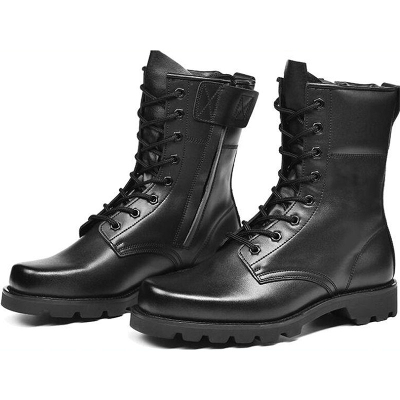 Work Safety Shoes Army black leather Boots Men Military Boots Tactical Combat Boots Waterproof Autumn/Winter Desert Boots 2019 image