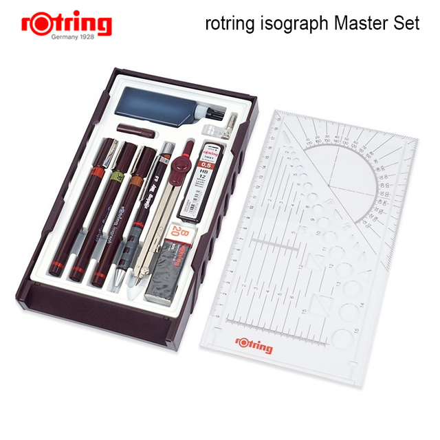 Rotring Master /Junior Isograph refilled ink porous point pen drawing tools set