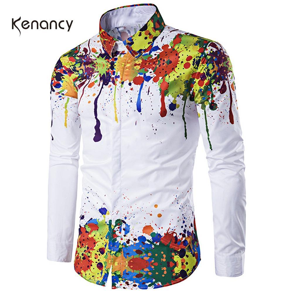 Hemiks Colorful Splatter Paint Pattern Turndown Collar Long Sleeve Shirt Men Spring Slim Fashion Shirts Men'S Casual Tops
