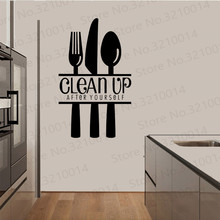 Free Shipping Clean up after yourself creative quote Dining Room Laundry Kitchen Home Decorations PW367