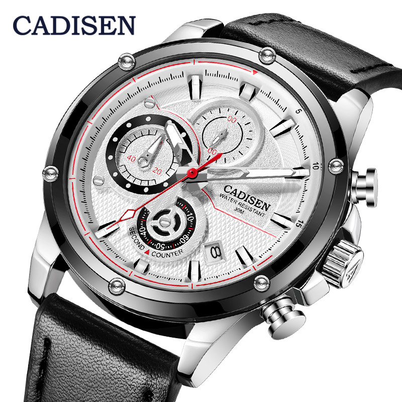 CADISEN Casual Sport Watches Men Black Top Brand Luxury Military Leather Wrist Watch Man Clock Fashion Chronograph Wristwatch