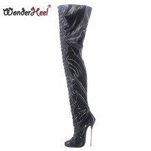 Wonderheel-Botas por encima de la rodilla de tacón de Metal ultradelgado, tacón alto de 16cm, cuero mate, sexys, con cordones para club nocturno