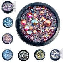 1 frasco colorido brilhante unhas pedra cristal 3d arte do prego strass para o design do prego arte acessórios decorações