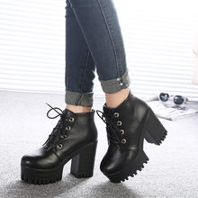 Brand Designers 2019 New Spring Autumn Women Shoes Black High Heels Boots Lacing Platform Ankle Boots Chunky Heel(China)
