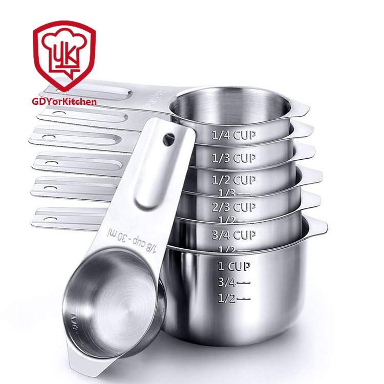 4pcs Stainless Steel Measuring Cups Spoons Kitchen Baking Set Cooking Tool A7Y0