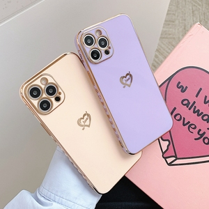 Image 3 - Electroplated Love Heart Phone Case For iPhone 11 12 Pro Max XS X XR 7 8 Plus Mini SE 2020 Soft Silicone Bumper Back Cover