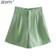 Zevity-pantalones Cortos con diseño plisado para mujer, Bermudas femeninas de Color sólido, elegantes, con cremallera, informales, ajustados, P1105, 2021