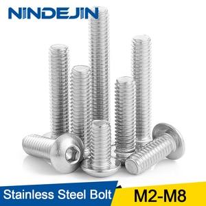 10/50pcs M2 M2.5 M3 M4 M5 M6 M8 304 Stainless Steel Hexagon Hex Socket Button Head Screw Bolts Round Head Screw Standoff ISO7380