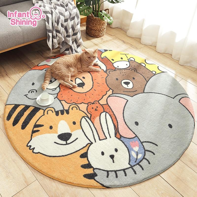 Infant Shining Baby Mat Cartoon Round Carpet 160x160cm Lovely Bedroom Thickened Lambskin Children's Floor Mat Room Carpet Toys