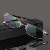 EOOUOOE Rimless Glasses Frame Metal Eye Glasses Gold Gary Silver Optical Oculos Glasses Gafas Opticas Lens Eyewear For Male