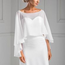 New Collection Asymmetrical Style Chiffon Bridal Cape For Bridal Wedding Shawl Summer Bridal Jackets Wraps