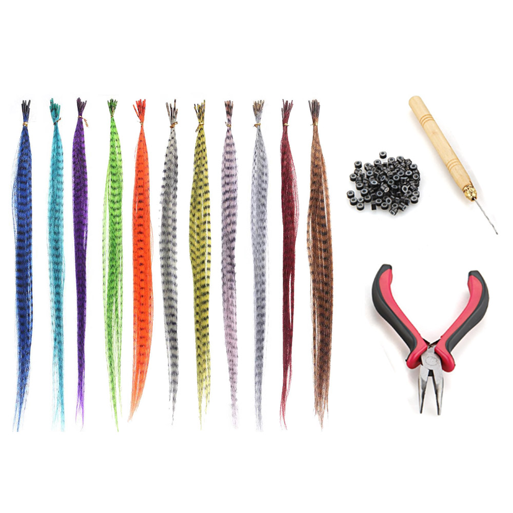 55pcs Multicolor Synthetic Hair Feathers For Hair Extensions DIY Micro Beads Hairpiece Kit Women Feathers Hair Extensions Tools