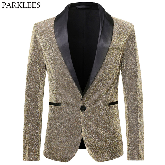 Gold Silk Blazer Men Single Button Shawl Collar Mens Blazers Jacket DJ Club Dance Party Stage Dazzling Blazer Masculino Outwear