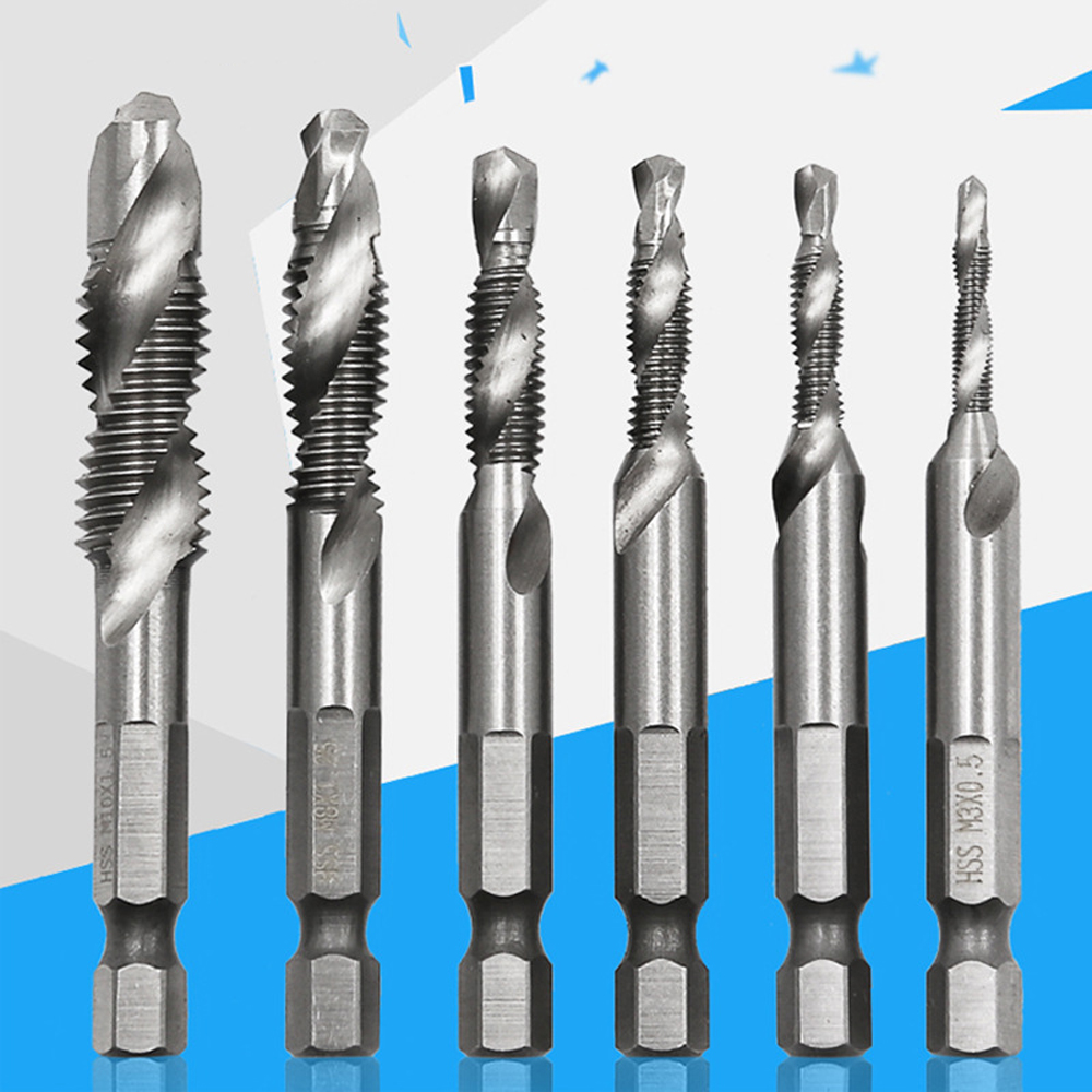 6 Pcs M3-M10 Screwdriver Drill Bit Hss Tap Drill Metric Combination Set High Speed Steel  Bit For Screw Machine