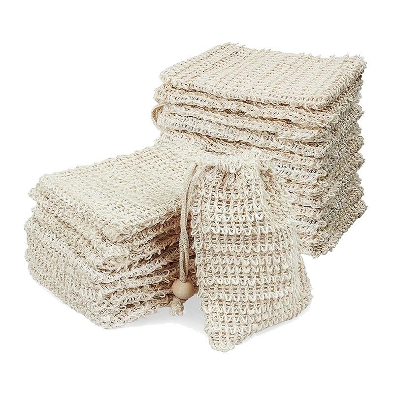 20 Pack Soap Exfoliating Bag,Soap Saver Made Sisal Mesh Soap Bag Bar Soap Bag with Drawstring for Bath & Shower Use