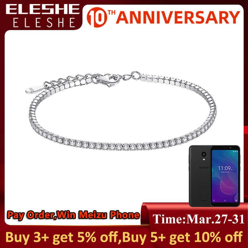 ELESHE 925 Sterling Silver Tennis Charm bransoletki dla kobiet z cyrkonia Link łańcuch Anti-alergii sterling-srebrny-biżuteria