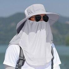 Кепка с клапаном для рыбалки на открытом воздухе, Пешие прогулки, 360 градусов, Солнцезащитная Ветрозащитная маска для лица, с ушками на шее, Рыбацкая Панама, велосипедная шляпа с широкими полями