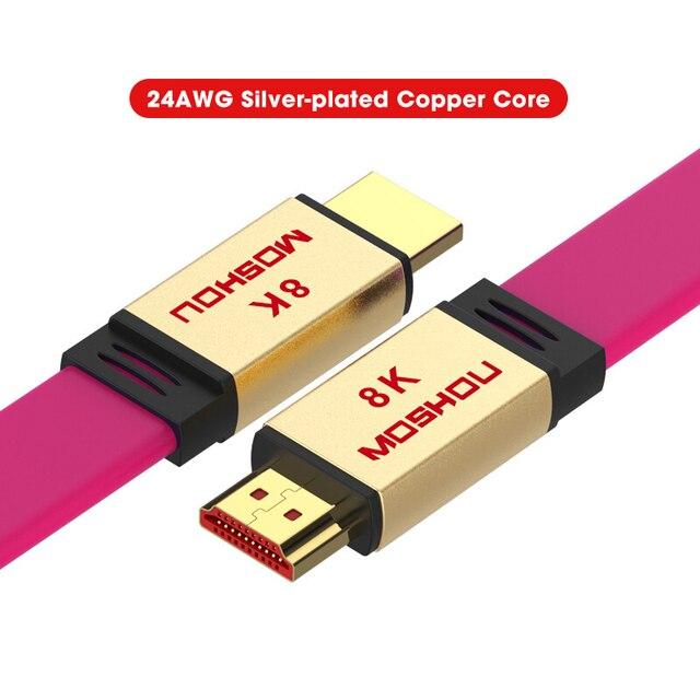 MOSHOU – câbles HDMI UHD HDR 48gbps, 4K @ 60HZ 8K @ 120Hz, pour Audio et vidéo, cordon HDMI 2.1