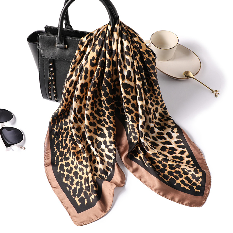 YISHLINE 70cm Elegant Autumn Leopard Printed Silk Scarf Women Ladies Scarves Professional Small Squares Luxury Design Satin