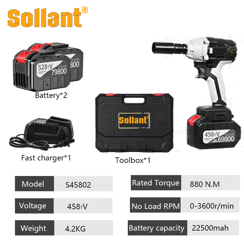 Sollant 20000mah Electric Impact Wrench Corded 1/2-Inch , 980N.m Max Torque, 3800rpm Speed, Two-Direction Rocker Switch