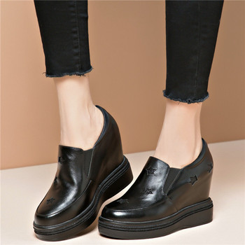 Fashion Sneakers Women Genuine Leather Wedges High Heel Vulcanized Shoes Female Round Toe Platform Pumps Shoes Casual Shoes 2020