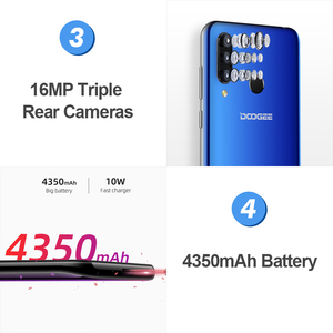 Image 5 - DOOGEE N20 6.3 FHD+ Waterdrop 4GB 64GB Fingerprint Smartphone16MP Triple Back Camera MT6763 Octa Core 4350mAh LTE Mobile phone