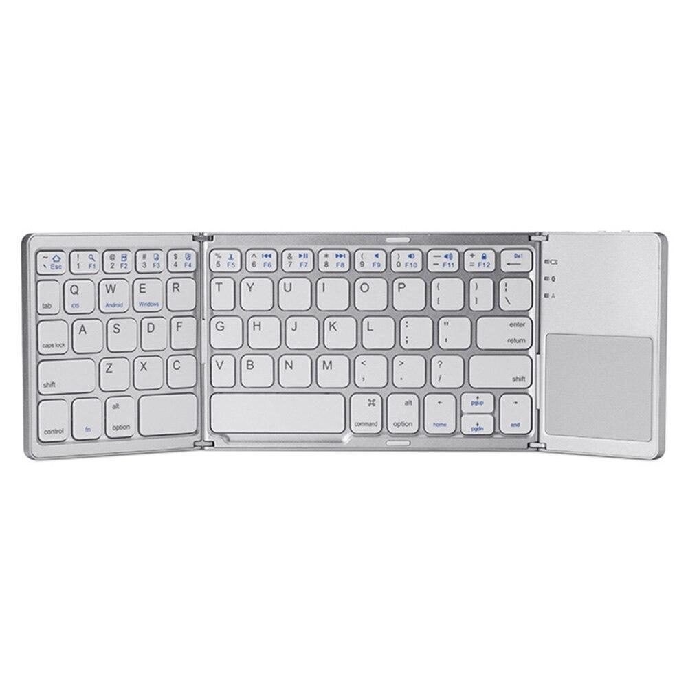 Wireless Mini USB Keyboard Twice Folding Bluetooth Dual Mode Tablet Touchpad Keypad For Android  Windows