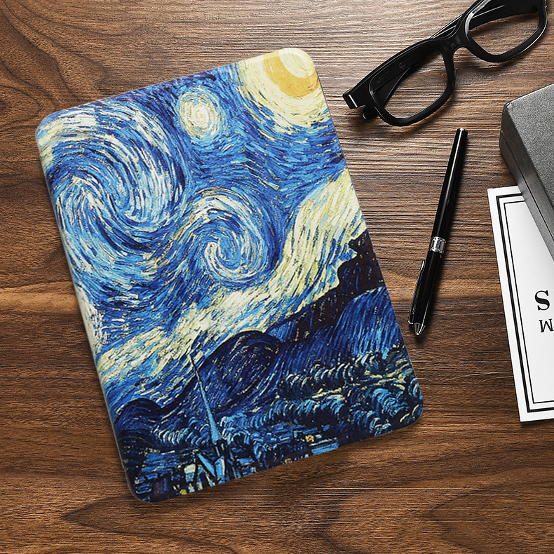 Van Gogh Black Case For iPad 10 2 inch 2020 Flip Trifold Stand Case PU Leather Full Smart Auto