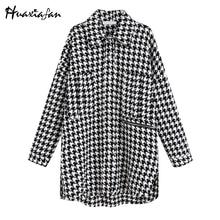 Huaxiafan Women Jackets houndstooth 2019 new women oversize drop-shoulder jacket trench coat vintage