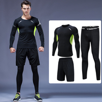 3Pcs/Set High Quality Men Compression Sport Suits Jogging Sets Sportswear Fitness Workout Training Gym Fitness Running Tracksuit
