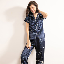 2020 Summer & Spring Women Comfort Silk Satin Dandelion Printed Pajamas Set Soft Thin Sleepwear Ladies Town Collar Navy Homewear