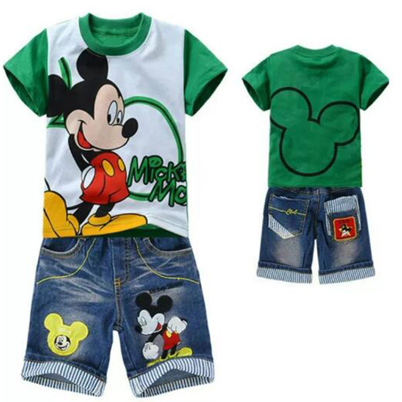 2pcs Kids Boys Mickey Mouse Sets Short Sleeve Tops+Jeans Denim Pants Clothes Set