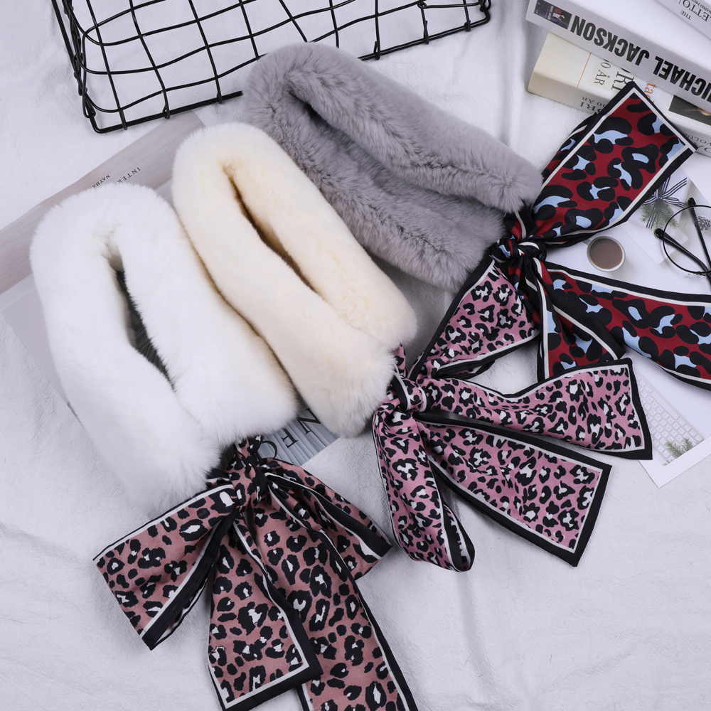 SUPPEV&STTDIO Women Real Rex Rabbit Fur Scarf Girls Natural Fur Double Sided Snood Ribbon Scarves Winter Warm Neckchief Wraps