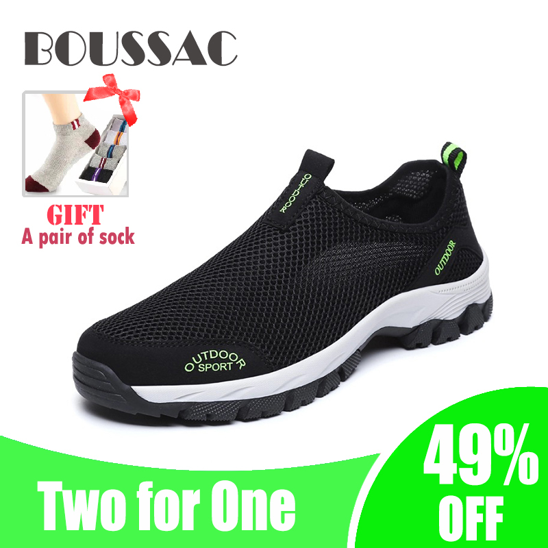 BOUSSAC 39-48 Human Portable Large Polyhedral Hiking Shoes For Outdoor Sports Durable Anti-skid Sneakers